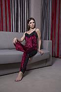 Бордовая теплая велюровая пижама штаны и майка, фото 2