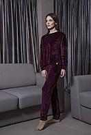 Бордовый велюровый костюм-пижама  штаны и кофта  Orli
