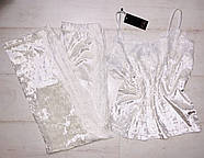 Белая велюровая пижама штаны и майка  Orli, фото 3