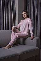 Розовый велюровый домашний костюм штаны и кофта  Orli