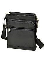Мужская сумка на плечо из натуральной кожи BRETTON черного цвета