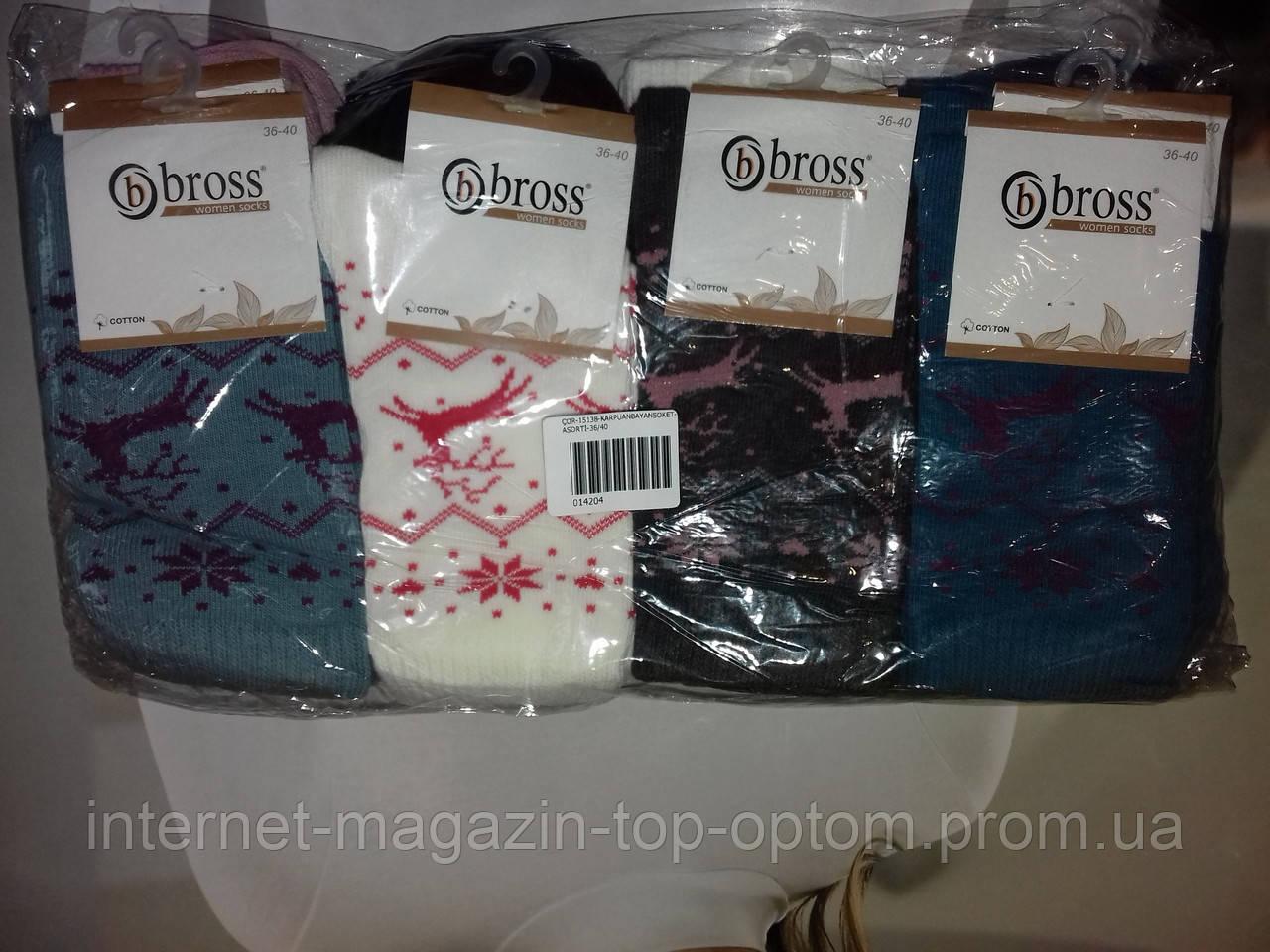 Шкарпетки жіночі новорічні не утеплені Bross опт