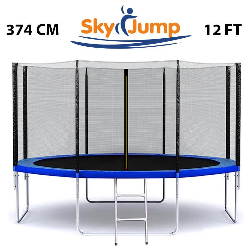 Батут SkyJump 12 фт., 374 см. с защитной сеткой и лестничкой