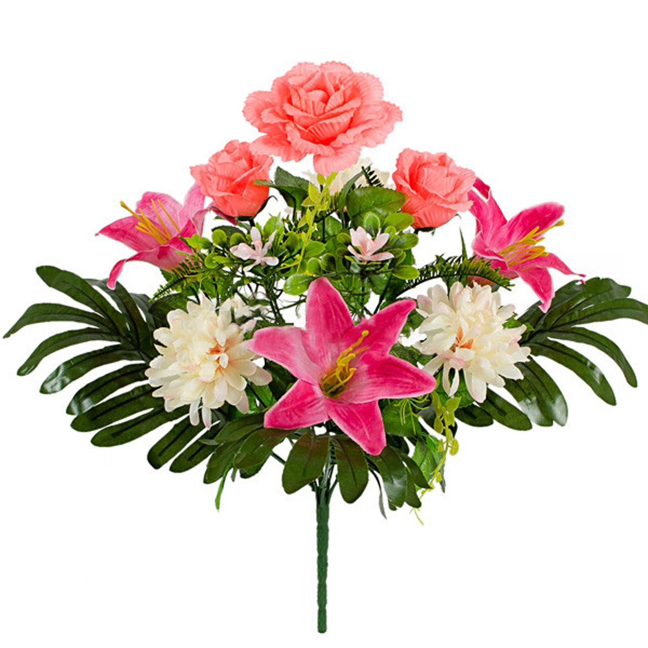 Букет Коктейль  роз, лилий и хризантем, 48см (10 шт в уп)