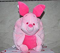 Плюшевый, детский рюкзак для девочки, розовый, дошкольный, в садик, c веселой игрушкой пятачок.