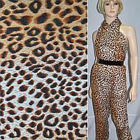 Креп полушерстяной молочно-коричневый принт леопард ш.140 (15101.092)
