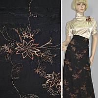 Ткань рубашечная черная с бежевой вышивкой и стрепами ( 15707.005 )