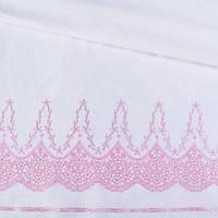 Шитье белое хлопок с вышивкой розовой кайма ш.140 ( 15708.013 )