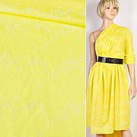 Шитье желтое хлопок с вышивкой цветы ш.136 (15708.014)