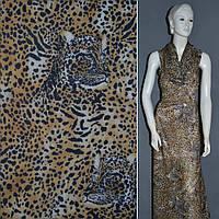 Шифон Діллон коричневий світлий з чорним принтом леопард ш.152 (15902.065)