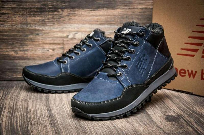 Кроссовки зимние мужские кожаные New Balance clasic blue реплика