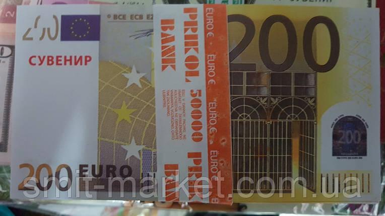Пачка сувенирных  денег по 200 евро, фото 2