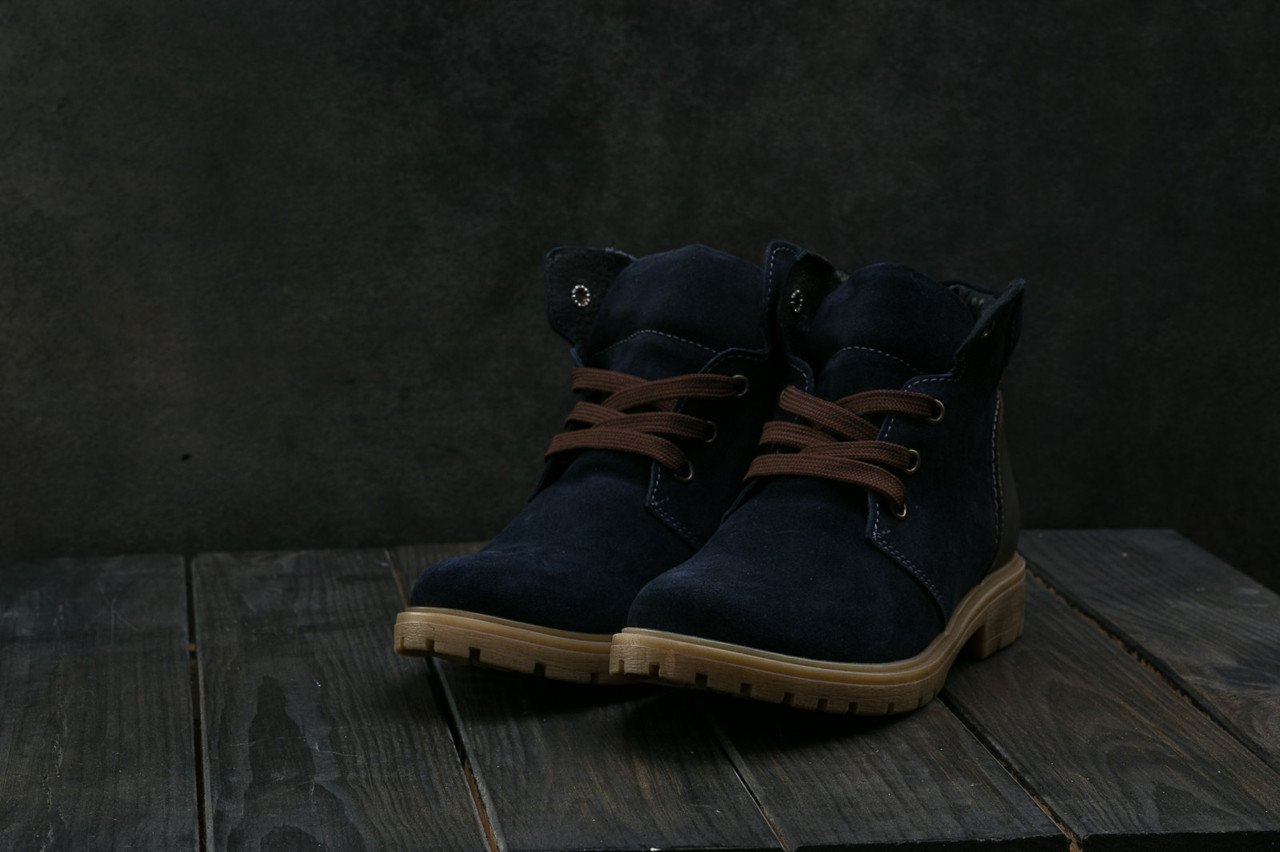 Подростковые зимние замшевые Ботинки Braxton темно-синего цвета