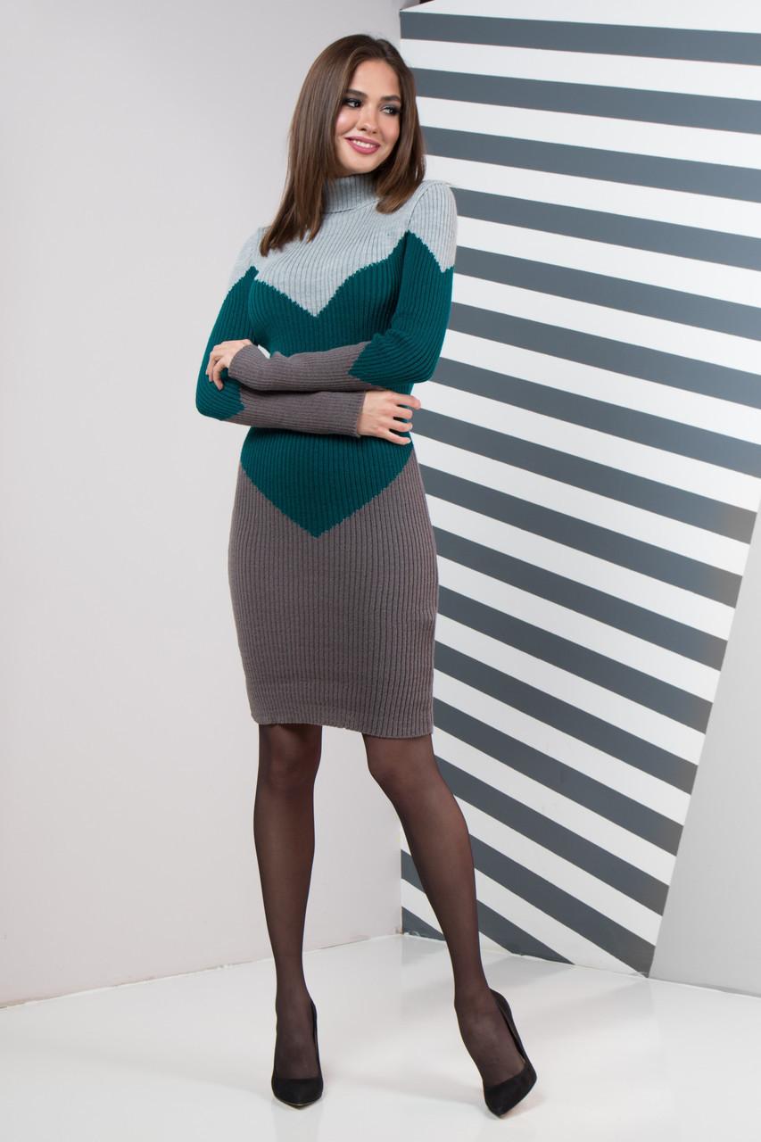 Платье вязаное шерстяное под горло теплое Эльза размер 44-50