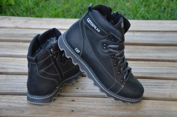 Ботинки мужские зимние кожа в стиле CAT Expensive Black Night