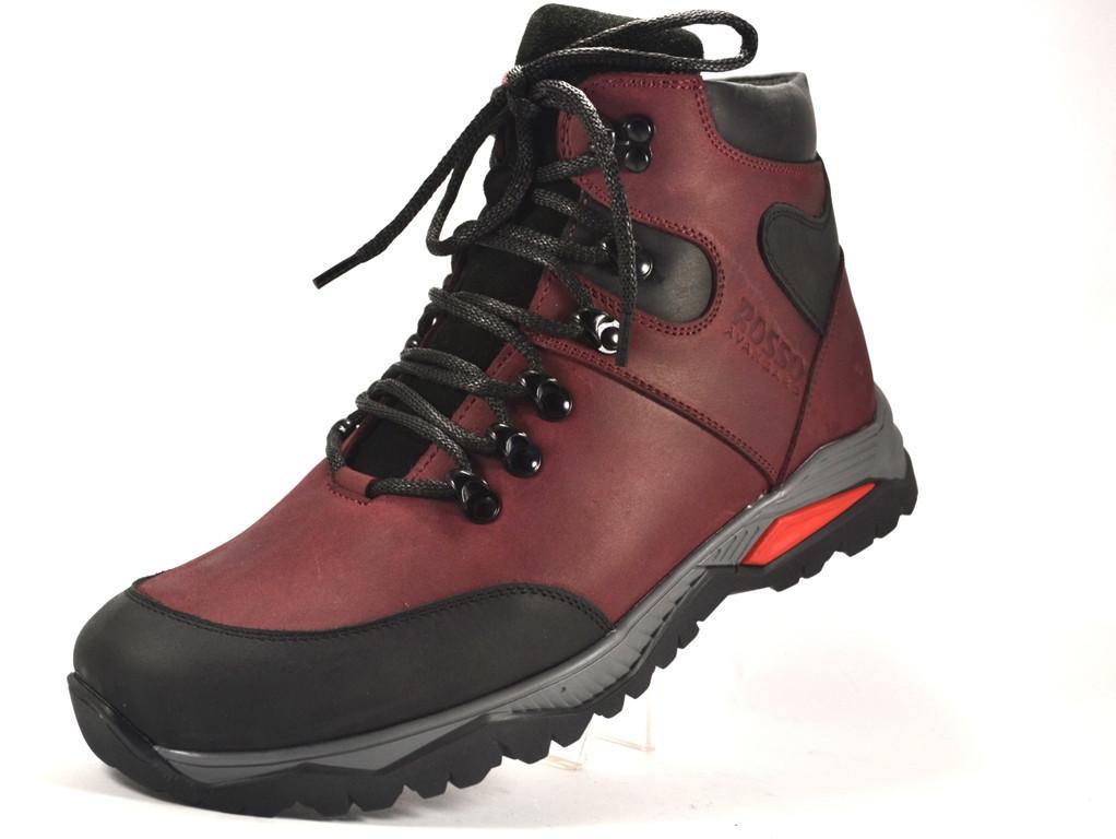 Бордові черевики чоловічі великого розміру шкіряні на хутрі Rosso Avangard BS Lomerback Trend Maroon колір марон