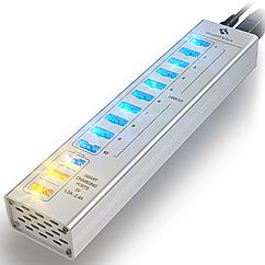 USB-хаб SmartDelux 13-портовый Silver SDU3-P10C3S, КОД: 197097