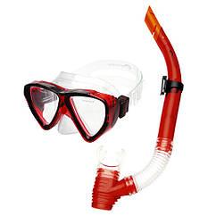 Маска с трубкой для плавания Spokey Quarius Junior Красная s0286, КОД: 199677