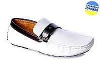 """Мужские мокасины """"топсайдер"""" intershoes 13v225 белые   весенние"""