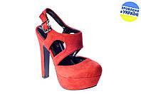 Женские босоножки на каблуке elmira-rima q3-101 коралловые   летние , фото 1