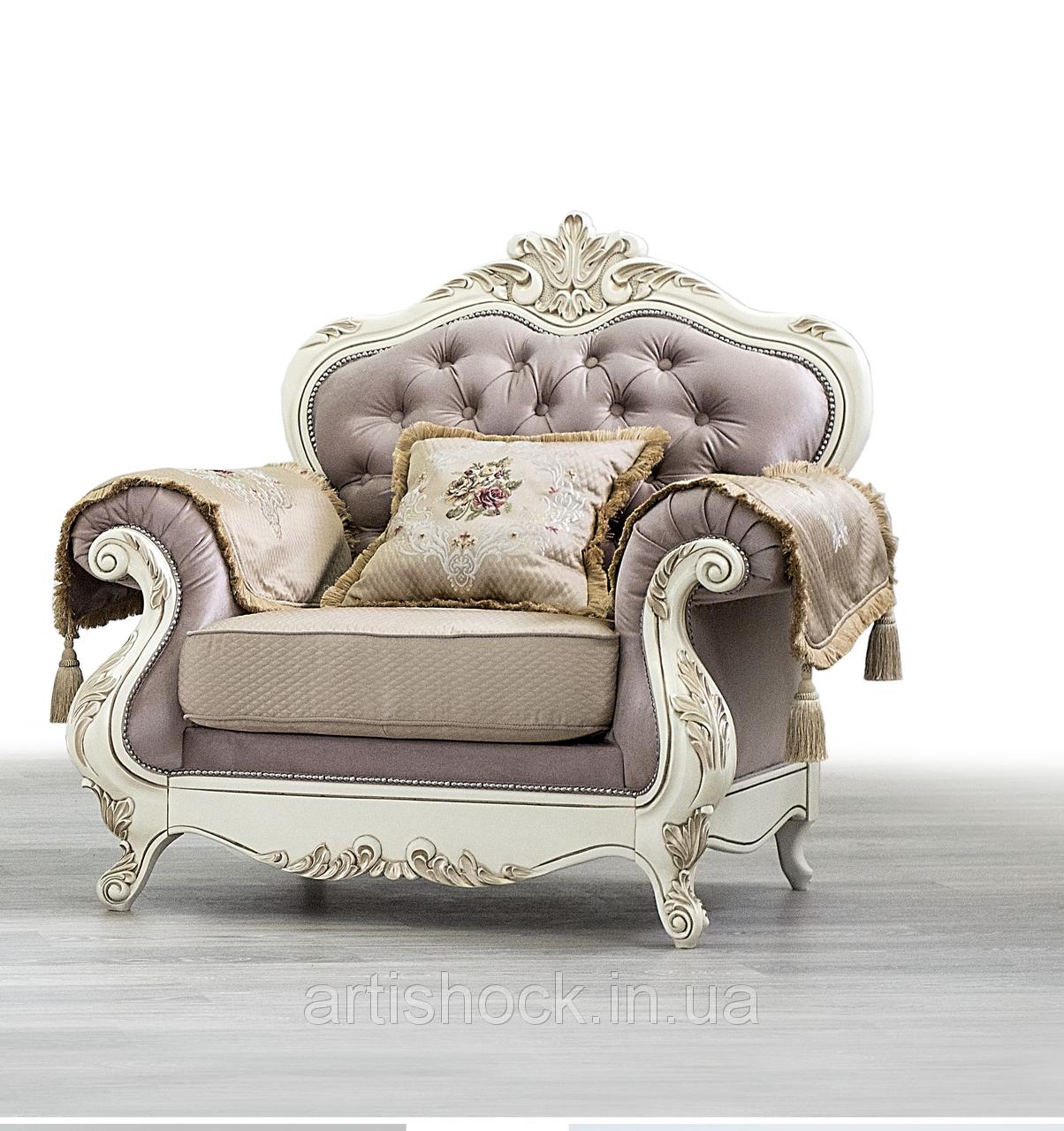 Кресло Империя Мебус (кожа, белое дерево)