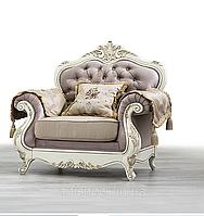 Кресло Империя Мебус (кожа, белое дерево), фото 1