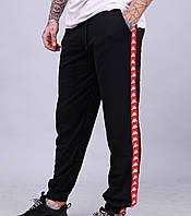Утепленные спортивные штаны мужские черные с красной полоской Kappa Каппа