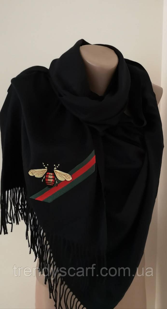Женский Gucci Кашемировый шарф-палантин.Черный Гуччи. Фирменый принтКашемир 180\70