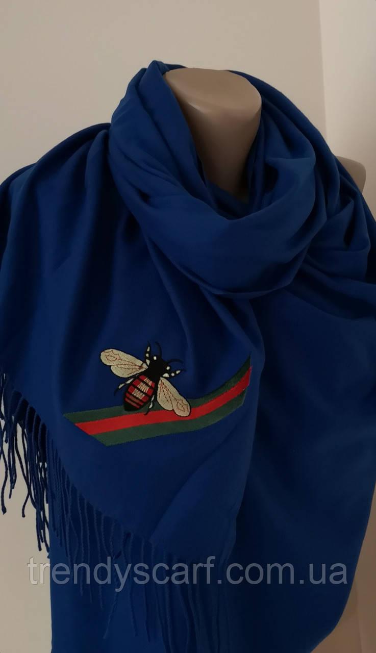 Женский Gucci Кашемировый шарф-палантин.Синий Гуччи. Фирменый принтКашемир 180\70