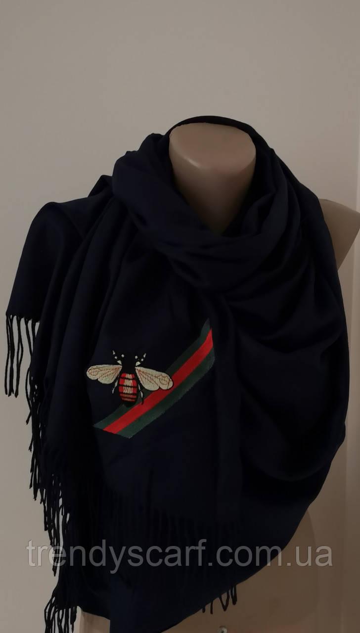 Женский Gucci Кашемировый шарф-палантин.Темно Синий Гуччи. Фирменый принтКашемир 180\70