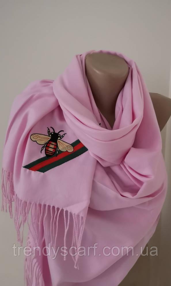 Женский Gucci Кашемировый шарф-палантин.Розовый Гуччи. Фирменый принтКашемир 180\70