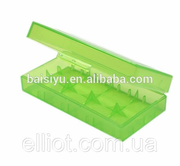 Пластиковый бокс на 2 аккумулятора 18650 Зелёный