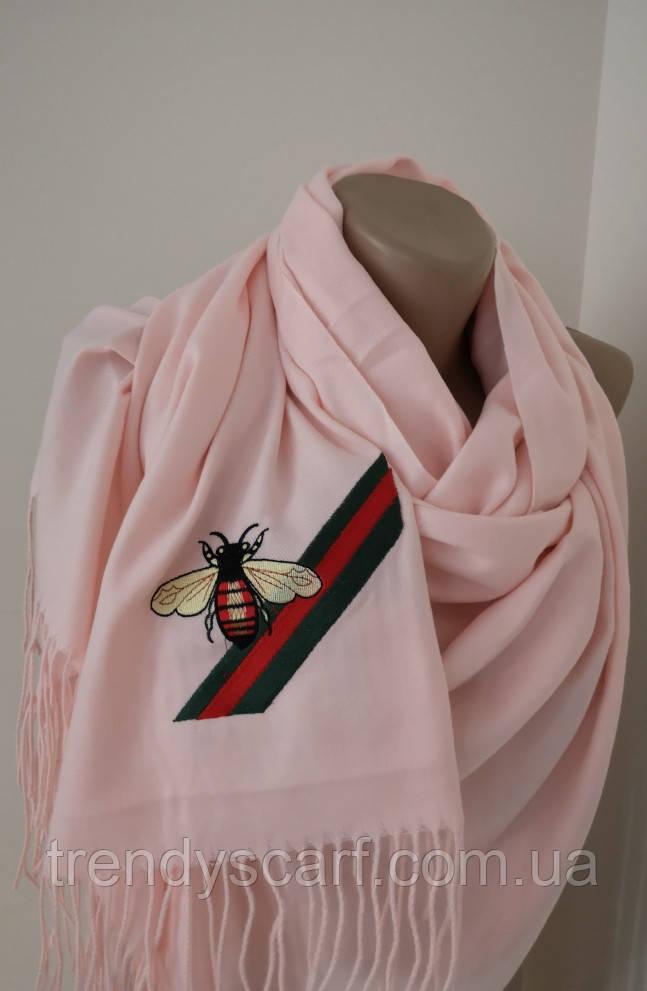 Женский Gucci Кашемировый шарф-палантин.Пудра светло розовый Гуччи. Фирменый принтКашемир 180\70