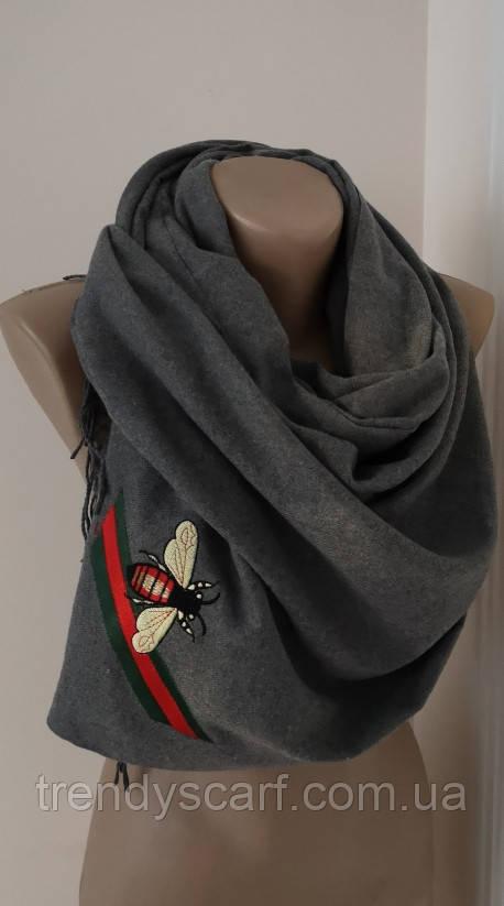 Женский Gucci Кашемировый шарф-палантин.Серый Гуччи. Фирменый принтКашемир 180\70