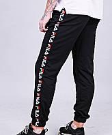 Утепленные спортивные штаны мужские черные с полоской Fila Фила