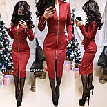 Женское замшевое платье-миди с карманами на молнии (5 цветов), фото 7