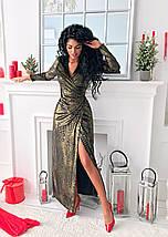 """Длинное бархатное платье на запах """"Garla"""" с золотым напылением, фото 2"""