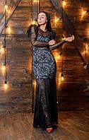 Роскошное гипюровое платье в пол с отделкой из сетки и декором с бахромы 42-44, 44-46, 46-48