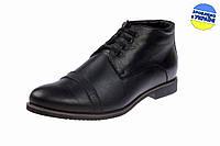 Мужские ботинки кожаные на меху mida 14764пч черные   зимние , фото 1
