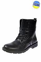 Мужские ботинки кожаные с мехом на шнуровке и молнии intershoes 14z847 черные   зимние , фото 1