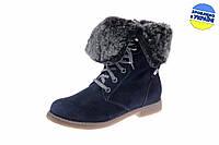 Женские ботинки кожаные с мехом на шнуровке и молнии mida 24322нуб.син темно-синие   зимние , фото 1