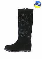 Женские сапоги кожаные на меху mafia 4838/35 черные   зимние