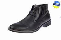 Мужские ботинки кожаные с мехом на шнуровке и молнии intershoes 14z810 черные   зимние , фото 1