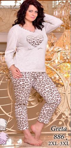 5d496fb7c8938 Женская пижама больших размеров TARO (Польша). Домашний костюм ...