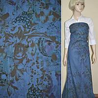 Коттон-джинс сине-голубой с рисунком (принт) ш.160 ( 17702.002 )