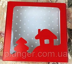 Коробка для печива, пряників з вікном, 15 см х 15см х 3 см, Червоний новорічна, крейдований картон