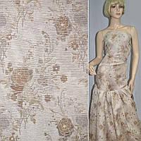 Жаккард костюмный с органзой бежевый с коричнево-бежевыми цветами ш.160 ( 18000.003 )