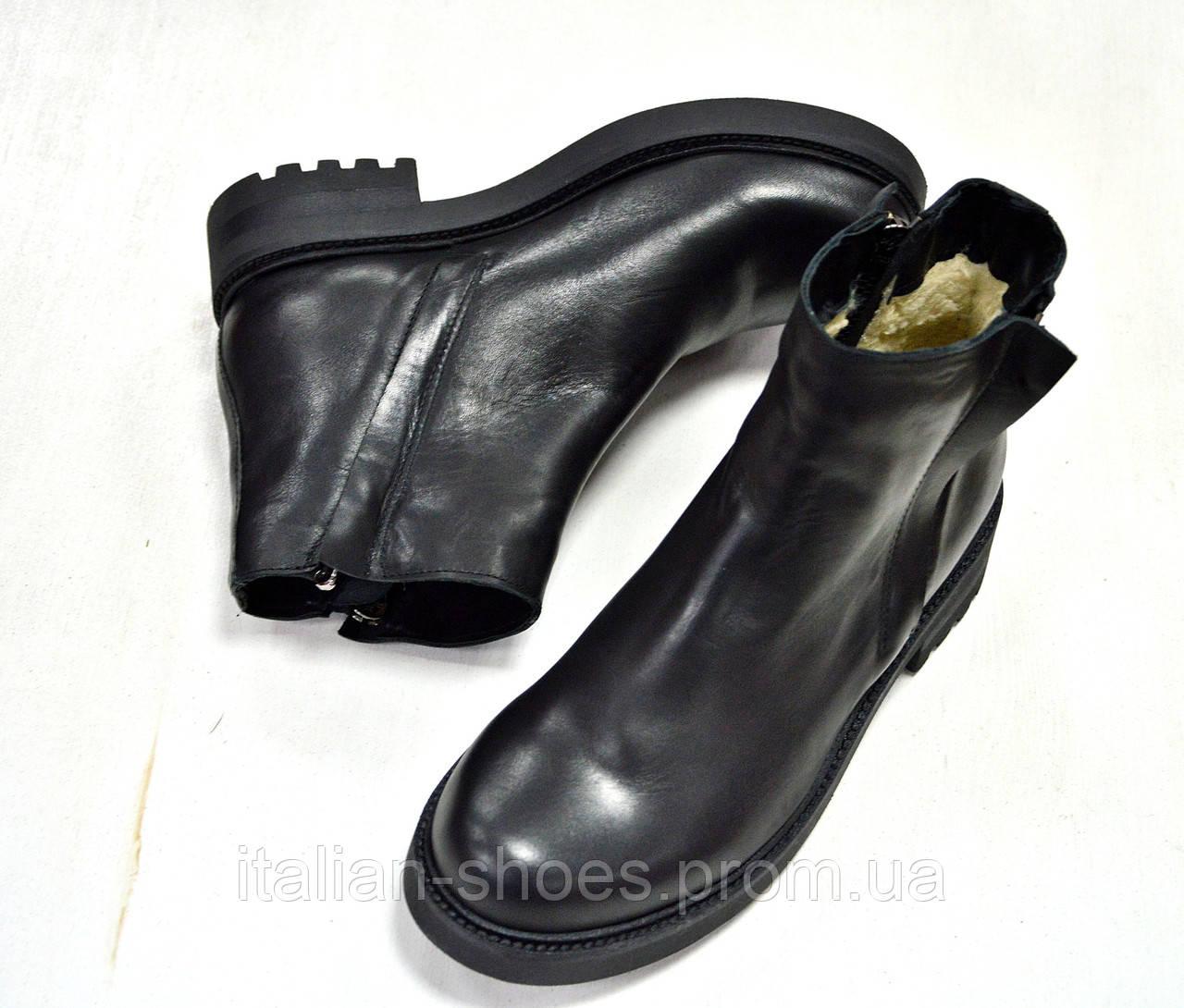 Зимние кожаные ботинки к-751