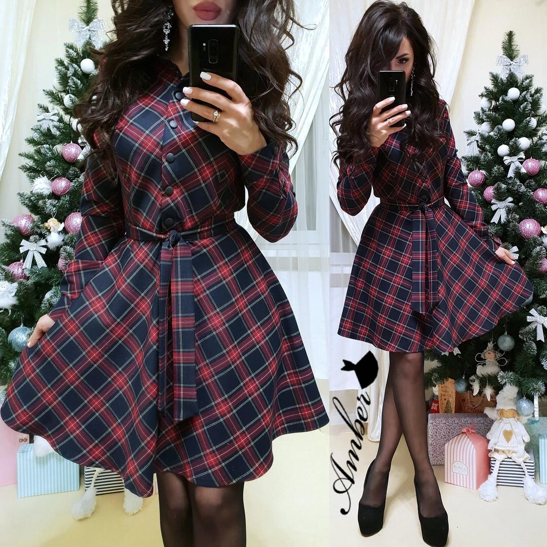 Стильное платье-рубашка в клетку с юбкой-солнце  продажа 1624886f53d86