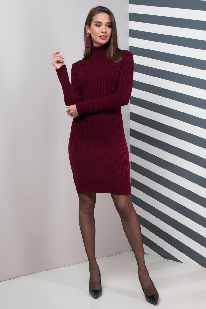 Базовое Платье вязаное шерстяное под горло теплое  размер 44-50